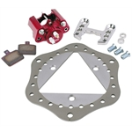 Sprint Car Left Front Brake Kit - Titanium Scalloped Rotor