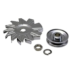 Single Groove Chrome Alternator Pulley w/ Fan
