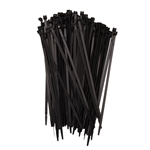 Stainless Steel Tooth Black Tie Wraps, 100 per Bag