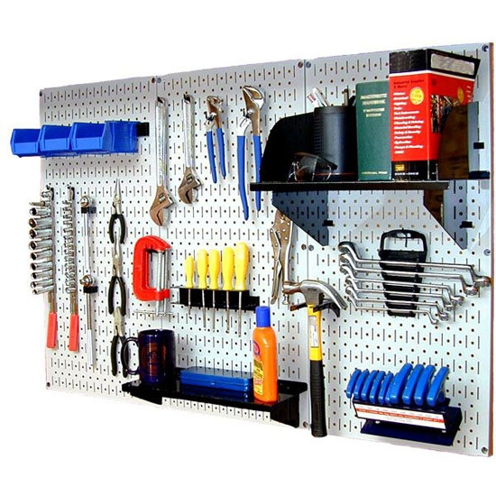 Standard workbench tool organizer white wall control for Bench tool system
