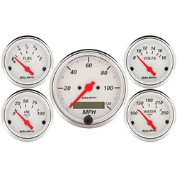 Auto Meter 1302 Arctic White 5 Piece Gauge Kit