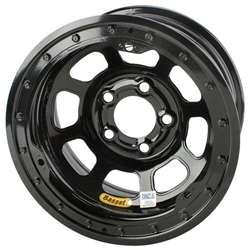 Bassett D-Hole IMCA Approved Wheels, 15 x 8, 5 on 4-3/4, Beadlock, Black