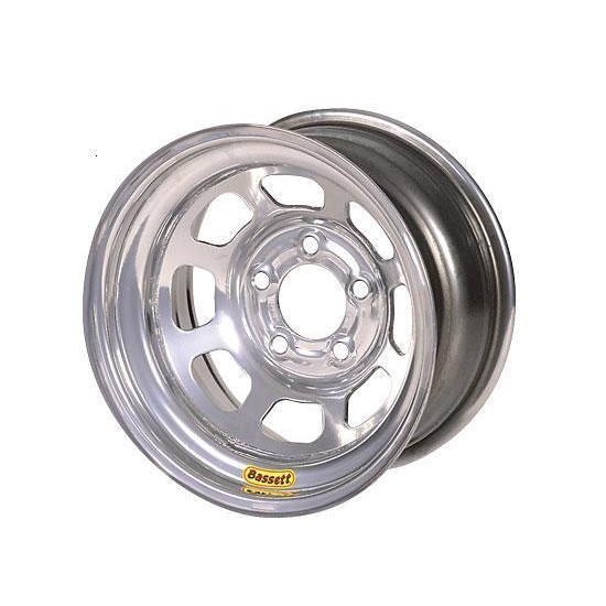 Bassett 54S55SB 15X14 D-Hole Lite 5 on 5 5 Inch BS Silver Beaded Wheel