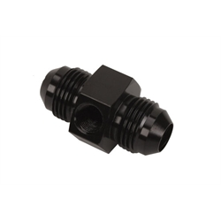 Inline Fuel Pressure Adapter, -8 AN to -8 AN w/ 1/8Inch NPT, Black