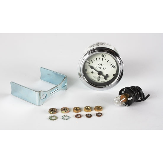 Stewart Warner 82473 Wings Electric Oil Pressure Gauge, White