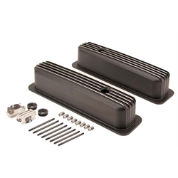1987-1997 SBC 5.0L/5.7L Tall Finned Valve Covers, Black Aluminum