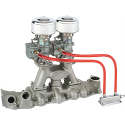 Plain 9 Super 7&#174; Carbs on Eddie Meyer Intake Manifold Kit, 1949-53 Ford V8