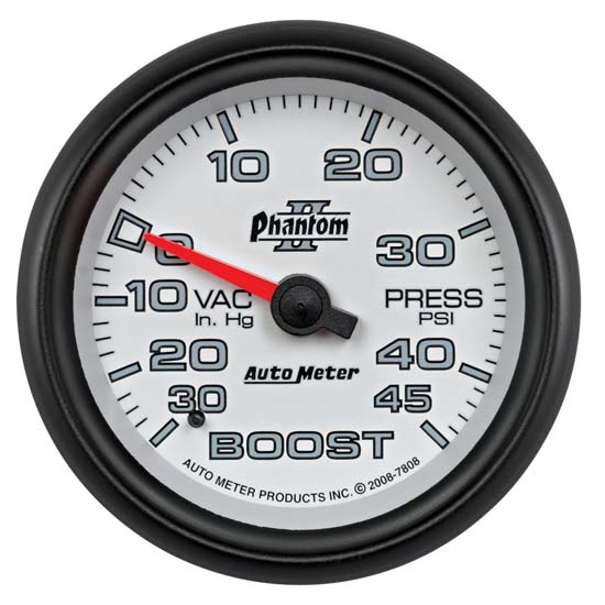 Auto Meter 7808 Phantom II Mechanical Boost/Vacuum Gauge, 2-5/8 Inch