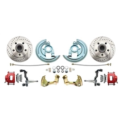 64-72 GM A Body 11 In Disc Brake Conversion Kit, Red Calipers
