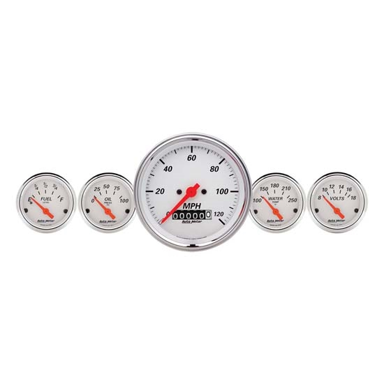 Auto Meter 1340 Arctic White 5 Piece Gauge Kit