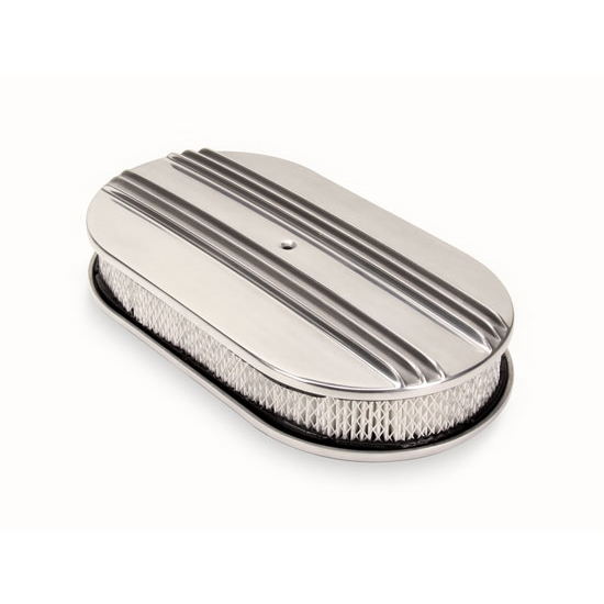 15 Inch Polished Aluminum Double Finned Oval Air Cleaner
