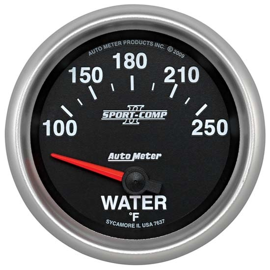 Auto Meter 7637 Sport-Comp II Air-Core Water Temperature Gauge