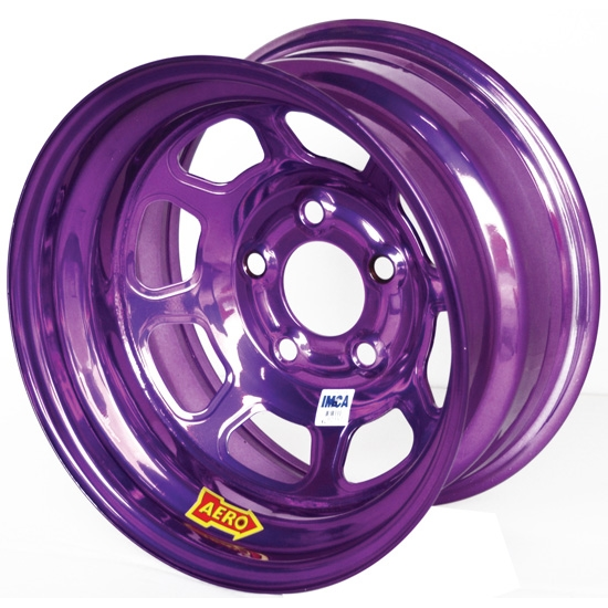 Aero 52-984740PUR 52 Series 15x8 Wheel, 5 on 4-3/4 BP, 4 Inch BS IMCA