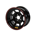 Bassett 57S53 15X7 D-Hole Lite 5 on 5 3 Inch Backspace Black Wheel