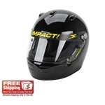 Impact Racing Super Sport SA10  Helmet, Black, Small, Chinbar Vents