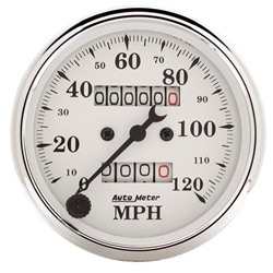 Garage Sale - Auto Meter 1693 Old-Tyme White Air-Core Mechanical Speedometer, 3-1/8