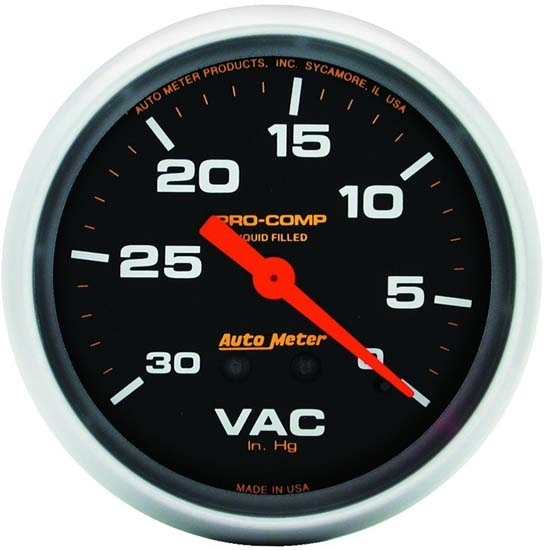 Auto Meter 5484 Pro-Comp Mechanical Vacuum Gauge, 2-5/8 Inch