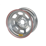 Bassett 57RH4S 15X7 Dot D-Hole 4 on 100mm 4 In Backspace Silver Wheel