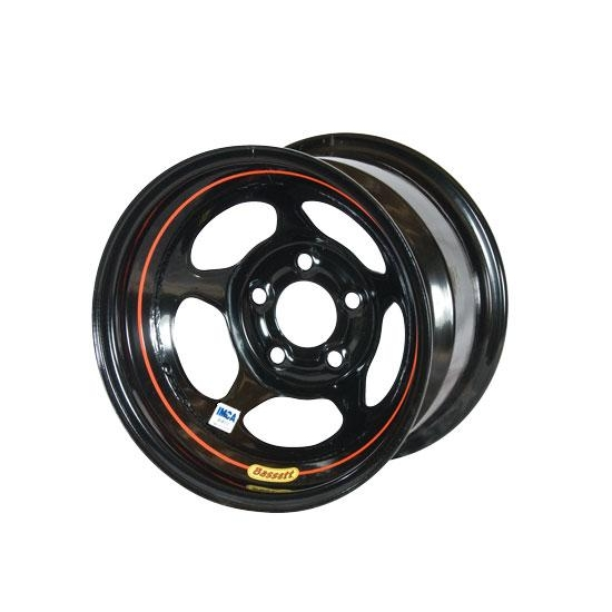 Bassett 58AC1IRB 15X8 Inertia 5on4.75 1 BS IMCA Black Rev Bell Wheel