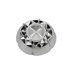 Murray Pedal Car Parts, Starburst Hubcap, 3-3/8 In OD, Chrome Plastic