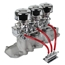 Three Chrome 9 Super 7   Carbs, Offenhauser 1072 Intake Kit, 1932-41 Ford V8