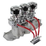 Three Chrome 9 Super 7® Carbs, Offenhauser 1072 Intake Kit, 1932-41 Ford V8