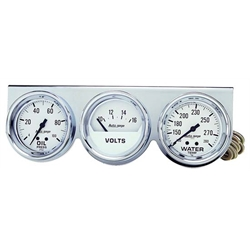 Auto Meter 2329 Auto Gage Mechanical 3 Gauge Console, Oil/Water/Volt