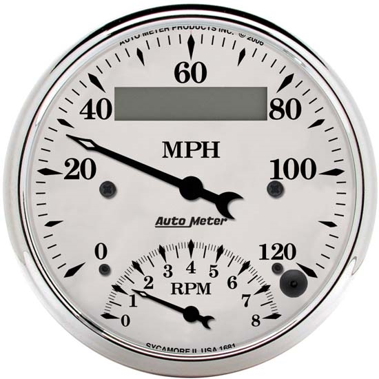 Auto Meter 1681 Old-Tyme White Air-Core Tach/Speedometer Combo Gauge