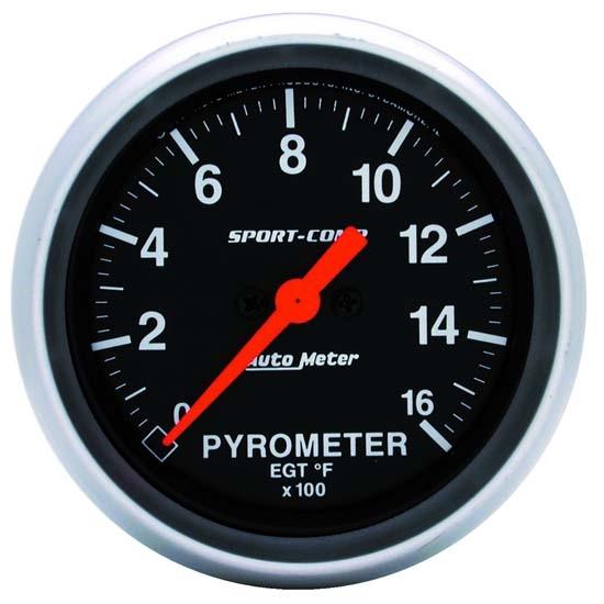 Autometer 3544 Sportcomp Electric Pyrometer Gauge Kit 2 5 8 In 0