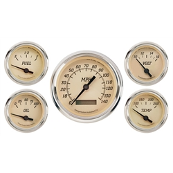 Omega Kustom 22085 Tan Face 5-Gauge Set, Electric Speedometer, 4-3/8