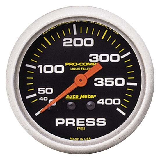 Auto Meter 5424 Pro-Comp Mechanical Pressure Gauge, 400 PSI, 2-5/8 In.