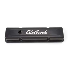 Edelbrock 4443 Signature Series Black Valve Cover Set, SB Chevy