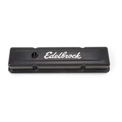 Edelbrock 4443 Signature Series Black Valve Cover Set, SB Chevy