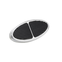 Lokar BAG-6107 Standard Oval Billet Aluminum Brake Pedal Pad, Brushed