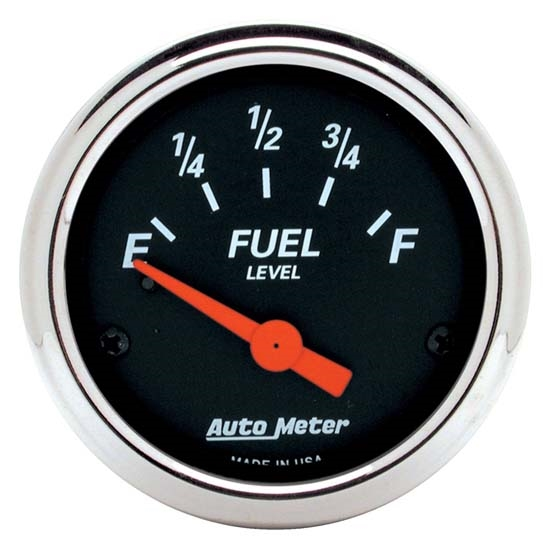 Auto Meter 1425 Designer Black Air-Core Fuel Level Gauge, 2-1/16 Inch