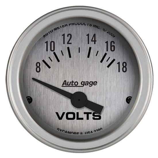 Auto Meter 2380 Auto Gage Air-Core Voltmeter Gauge w/Panel, 2-1/16 In.