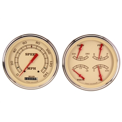 Classic Instruments CH51VT52 Vintage Series Quad Gauges, 1951-52 Chevy, Tan