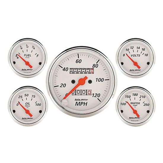 Auto Meter 1300 Arctic White Gauge Set, Mechanical Speedo