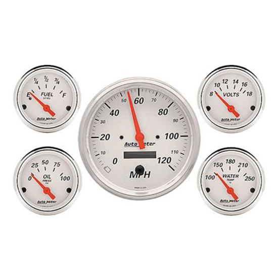 Auto Meter 1302 Arctic White Gauge Set, Electric Speedo