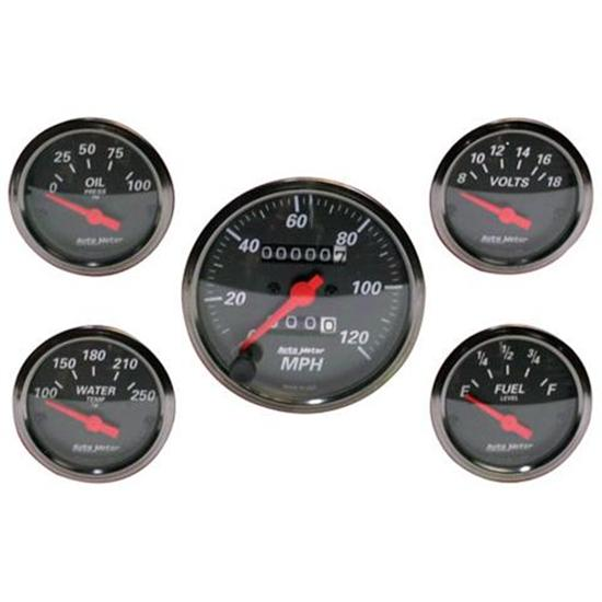 Auto Meter 1400 Gauge Kit, Designer Black Gauge Set, Mechanical Speedo