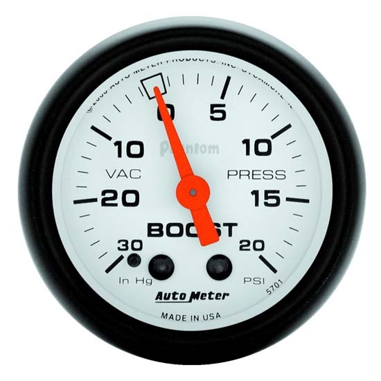 Auto Meter 5701 Phantom Mechanical Boost/Vacuum Gauge, 2-1/16 Inch