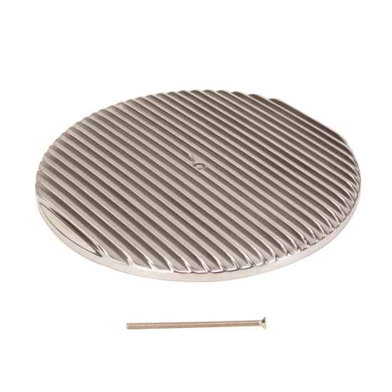 14 Inch Round Finned Air Cleaner Top Lid, Polished Aluminum