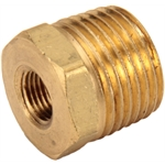 Straight Brass Pipe Bushing, 1/2 NPT to 1/8 NPT