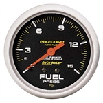 Auto Meter 5411 Pro-Comp Mechanical Fuel Pressure Gauge, 15 PSI, 2-5/8