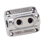 Edelbrock 12801 Polished 2-Carb Fuel Block