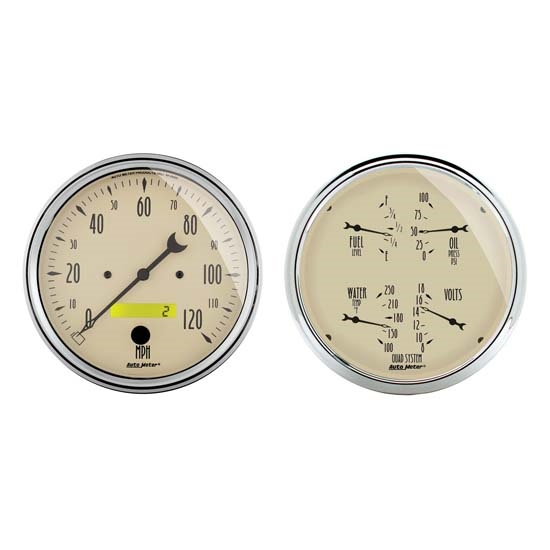 Auto Meter 1800 Antique Beige Air-Core 2 Piece Gauge Kit