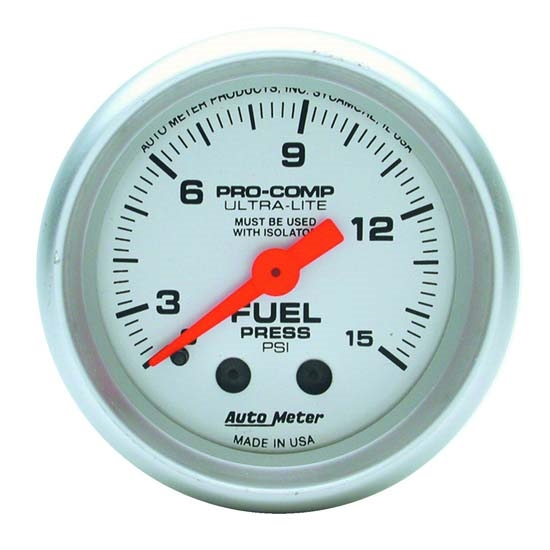 Auto Meter 4311 Ultra-Lite Mechanical Fuel Pressure Gauge, 2-1/16