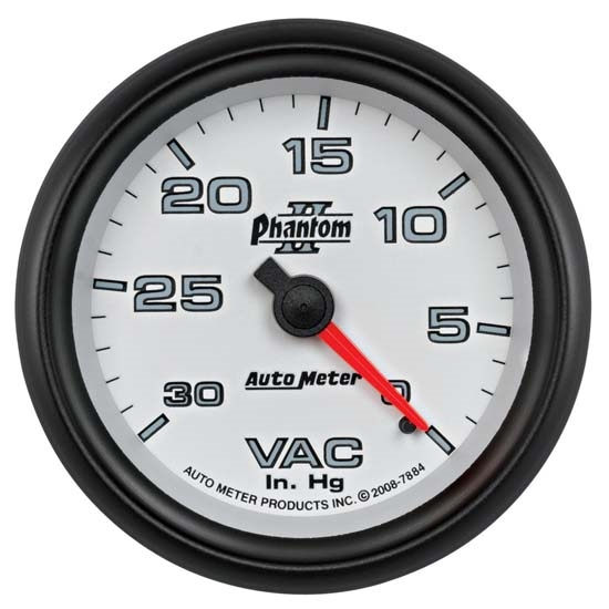 Auto Meter 7884 Phantom II Mechanical Vacuum Gauge, 2-5/8 Inch