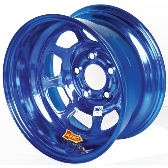 Aero 52-984520BLU 52 Series 15x8 Wheel, 5 on 4-1/2 BP, 2 Inch BS IMCA