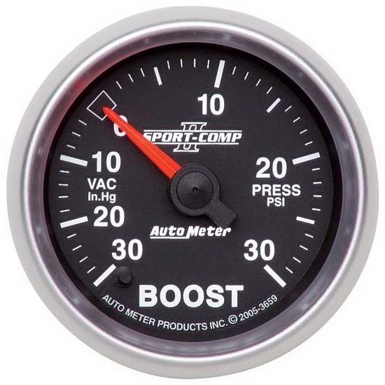 Auto Meter 3659 Sport-Comp II Digital Stepper Motor Boost/Vacuum Gauge